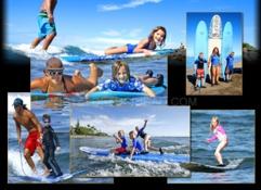 Imagen niños haciendo surf