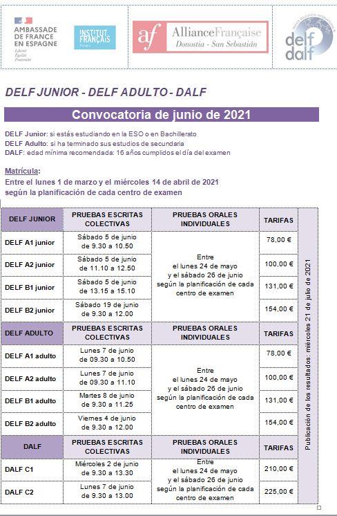EXAMENES FRANCES OFICIALES DELF DALF JUNIO 2012